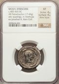 Ancients:Greek, Ancients: SICILY. Syracuse. Deinomenid Tyranny (485-466 BC). ARtetradrachm (17.44 gm)....