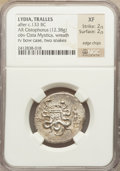 Ancients:Greek, Ancients: LYDIA. Tralleis. Ca. 166-67 BC. AR tetradrachm (12.38gm)....