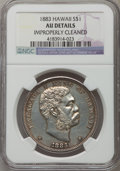 Coins of Hawaii: , 1883 $1 Hawaii Dollar -- Improperly Cleaned -- NGC Details. AU. NGC Census: (30/181). PCGS Population (64/200). Mintage: 50...