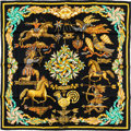 "Luxury Accessories:Accessories, Hermes 90cm Black ""Les Girouettes,"" by Joachim Metz Silk Scarf. Pristine Condition. 36"" Width x 36"" Length. ..."