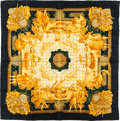 "Luxury Accessories:Accessories, Hermes 90cm Black & Gold ""Azulejos,"" by Catherine Baschet SilkScarf. Pristine Condition. 36"" Width x 36"" Length...."