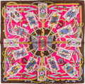 "Luxury Accessories:Accessories, Hermes 90cm Brown & Pink ""Dame de Coeur,"" by Pierre Marie Silk Scarf. Excellent Condition. 36"" Width x 36"" Length. ..."