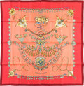 "Luxury Accessories:Accessories, Hermes 90cm Pink & Red ""Parures des Sables,"" by Laurence Bourthoumieux Silk Scarf. Pristine Condition. 36"" Width x 36""..."