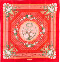 "Luxury Accessories:Accessories, Hermes 90cm Pink ""Jeux de Paille,"" by Françoise de La Perriere SilkScarf. Pristine Condition. 36"" Width x 36"" Length..."