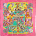 "Luxury Accessories:Accessories, Hermes 90cm Pink & Green ""Art des Steppes,"" by Annie FaivreSilk Scarf. Pristine Condition. 36"" Width x 36""Length. ..."