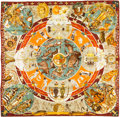 "Luxury Accessories:Accessories, Hermes 90cm Red ""Les Mythologies des Hommes Rouges,"" by KermitOliver Silk Scarf. Pristine Condition. 36"" Width x 36""..."