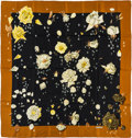 "Luxury Accessories:Accessories, Hermes 90cm Black & Brown ""La Rosee,"" by A. Gavarni Silk Scarf.Pristine Condition. 36"" Width x 36"" Length. ..."
