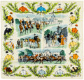 "Luxury Accessories:Accessories, Hermes 90cm Green & Beige ""Courses de Chantilly,"" by Maurice deTaquoy Silk Scarf. Pristine Condition. 36"" Width x36""..."