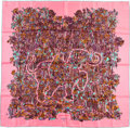 "Luxury Accessories:Accessories, Hermes 90cm Pink & Green ""Legende Moghole,"" by Karen PetrossianSilk Scarf. Pristine Condition. 36"" Width x 36""Length..."