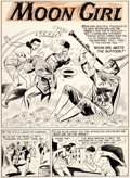 "Original Comic Art:Splash Pages, Sheldon Moldoff Moon Girl #6 ""Moon Girl Meets the Buffoon!""Splash Page 1 Original Art (EC, 1949)...."