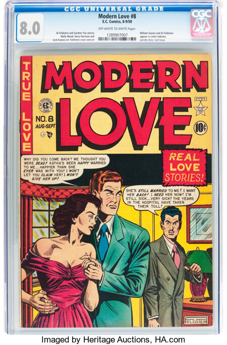 Modern Love #8 (EC, 1950) CGC VF 8.0 Off-white to white pages....