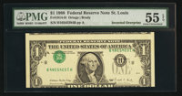 Fr. 1914-H $1 1988 Federal Reserve Note. PMG About Uncirculated 55 EPQ