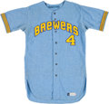 Baseball Collectibles:Uniforms, 1971 Dave Bristol Game Worn Milwaukee Brewers Jersey - The First Manager in Team History....