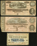 Confederate Notes:1864 Issues, T68 $10 1864;. T69 $5 1864;. Tallahassee, FL - The State of Florida 25¢ Feb. 2, 1863. ... (Total: 3 notes)