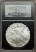 2011 $1 Silver Eagle, 25th Anniversary, Early Releases Set NGC Black. This set includes: 2011 MS70, 2011-S MS70, 2011-W...