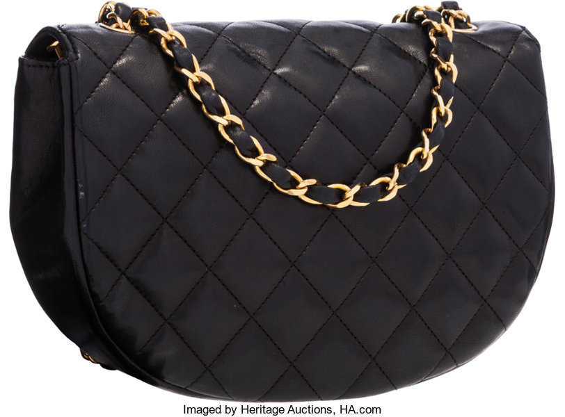 d20472c1ed80 Chanel Black Quilted Lambskin Leather Half Moon Shoulder Bag   Lot #58741    Heritage Auctions