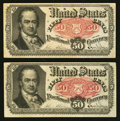 Fractional Currency:Fifth Issue, Fr. 1381 50¢ Fifth Issue Two Examples.. ... (Total: 2 notes)