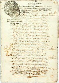 [Featured Lot]. [Slave Sales]. Peruvian Testimony of Power: Authorization of Slave Purchase Expedition. Parchment man