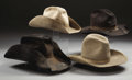 Western Expansion:Cowboy, LOT OF 4 COWBOY HATS - 3 great worn hats circa 1970's-1980's andone circa 1940's Phoenix marked hat with bound edge.. ... (Total: 4Items)