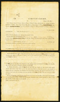 Confederate Notes:Group Lots, Albert Pike Clark County, AR Legal Document September 1845.. ...(Total: 4 notes)