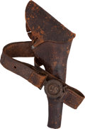 Military & Patriotic:Civil War, Confederate Holster & Belt With Two-piece Interlocking CS Buckle....