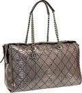 "Luxury Accessories:Bags, Chanel Silver Metallic Python Shoulder Bag with Gunmetal Hardware.Excellent Condition . 15.5"" Width x 10"" Height x6""..."