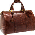 "Luxury Accessories:Bags, Versace Brown Crocodile Travel Bag. Excellent Condition.16"" Width x 10"" Height x 8"" Depth. CITES complianceapp..."