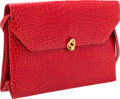 """Luxury Accessories:Bags, Helene Arpels Red Crocodile Shoulder Bag. Very Good to ExcellentCondition. 11"""" Width x 7.5"""" Height x 3"""" Depth...."""