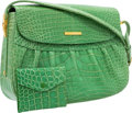 "Luxury Accessories:Bags, Helene Arpels Green Crocodile Shoulder Bag. Very Good toExcellent Condition. 10.5"" Width x 8"" Height x 2.5""Depth. ..."