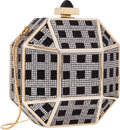 "Luxury Accessories:Bags, Judith Leiber Full Bead Silver & Black Crystal OctagonalMinaudiere Evening Bag. Very Good Condition. 4"" Width x4"" He..."