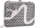 """Luxury Accessories:Bags, Judith Leiber Full Bead Silver & Gray Crystal Snake MinaudiereEvening Bag. Very Good to Excellent Condition. 6""""Width..."""