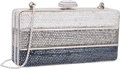 "Luxury Accessories:Bags, Judith Leiber Full Bead Silver Gradient Crystal Minaudiere EveningBag. Excellent Condition. 5.5"" Width x 2.5"" Height..."