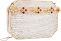 "Luxury Accessories:Bags, Judith Leiber Full Bead Silver Crystal Minaudiere Evening Bag .Excellent Condition. 5"" Width x 4"" Height x 1""Depth..."