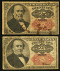 Fractional Currency:Fifth Issue, Two Fr. 1309 25¢ Fifth Issue Notes Fine.. ... (Total: 2 notes)