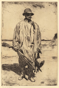 FRANK WESTON BENSON (American, 1862-1951) Old Tom, 1926 Etching 14-7/8 x 9-7/8 inches (37.8 x 25