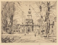 Prints, CHILDE HASSAM (American, 1859-1935). Independence Hall, Philadelphia, 1926. Etching . 7-1/2 x 9-1/2 inches (19.1 x 24.1 ...