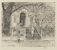 CHILDE HASSAM (American, 1859-1935) The Chase House, Annapolis, 1929 Etching 7-3/4 x 9 inches (1