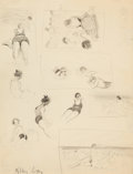 Fine Art - Work on Paper:Drawing, MILTON CLARK AVERY (American, 1885-1965). Beach Studies,1933. Pencil on paper. 11 x 8-1/2 inches (27.9 x 21.6 cm) (shee...