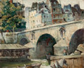 Fine Art - Painting, American:Modern  (1900 1949)  , GEORGE SNOW HILL (American, 1898-1969). Pont Marie on theSeine. Oil on panel. 8-5/8 x 10-5/8 inches (21.9 x 27.0 cm).S...