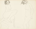 Fine Art - Work on Paper:Drawing, MILTON CLARK AVERY (American, 1885-1965). Disturbed Nude.Ink and pencil on paper. 13-3/4 x 16-3/4 inches (34.9 x 42.5 c...