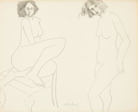MILTON CLARK AVERY (American, 1885-1965) Disturbed Nude Ink and pencil on paper 13-3/4 x 16-3/4 i