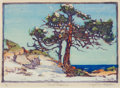 Fine Art - Work on Paper:Print, MARGARET JORDAN PATTERSON (American, 1867-1950). CoastCedars, 1915. Woodcut on paper. 7-3/4 x 10-1/2 inches (19.7 x26....