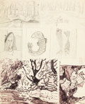Fine Art - Work on Paper:Drawing, MILTON CLARK AVERY (American, 1885-1965). Seven Sketches,1950. Flobrush and pencil on paper. 17 x 14 inches (43.2 x 35....