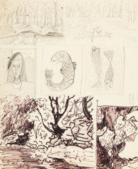 MILTON CLARK AVERY (American, 1885-1965) Seven Sketches, 1950 Flobrush and pencil on paper 17 x 1