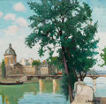Fine Art - Painting, European:Modern  (1900 1949)  , CONSTANTINE KLUGE (French, 1912-2003). Le Quai du Louvre.Oil on canvas. 32 x 32 inches (81.3 x 81.3 cm). Signed lower r...
