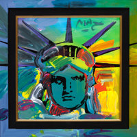 PETER MAX (American, b. 1937) Liberty Head, 1991 Acrylic on canvas 12 x 12 inches (30.5 x 30.5 cm