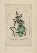 Fine Art - Work on Paper:Print, GEORGES BRAQUE (French, 1882-1963). Bouquet Vert, 1951.Etching in colors. 7-1/4 x 4-1/2 inches (18.4 x 11.4 cm) (plate)...