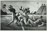 THOMAS HART BENTON (American, 1889-1975) Forward Pass, 1972 Lithograph 12-3/4 x 19-3/4 inches (32