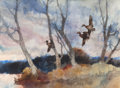 Fine Art - Work on Paper:Watercolor, ROY MARTELL MASON (American, 1886-1972). Ducks in Flight.Watercolor on paper. 21-1/2 x 29-7/8 inches (54.6 x 75.9 cm) (...