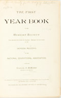 Books:Social Sciences, Charles A. McMurry, editor. Publications of the National HerbartSociety. Chicago, 1900. Original cloth binding. Fro...